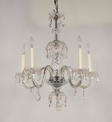 Antique 5 Light Crystal Chandelier w/ Peach Rosettes & Swarovski Crystals 1950s