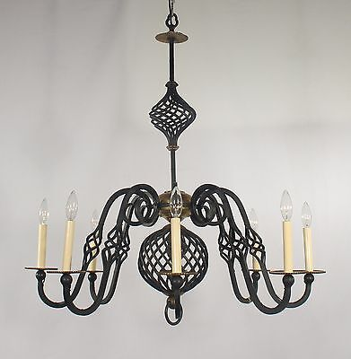 Antique Black Wrought Iron Chandelier with Brass Trimmings (circa 1950's)