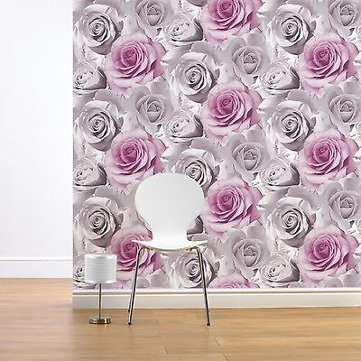 Muriva Madison Rose Floral Wallpaper Pink (119505) New