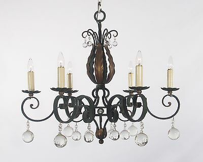 Antique French Green & Gold Leaf Wrought Iron Chandelier circa 1920's