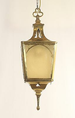 Antique Mission Brass Lantern with Caramel Slag Glass (American circa 1910)