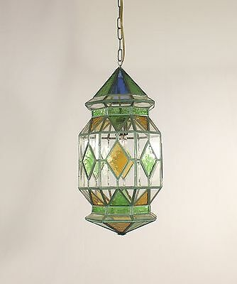 Andalusian 1 Light Multi-Colored Leaded Glass Lantern