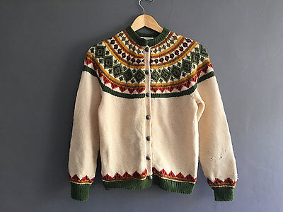 VINTAGE 50s Norweigan Hand Knitted Fair Isle Cardigan SWEATER WOOL NORDIC
