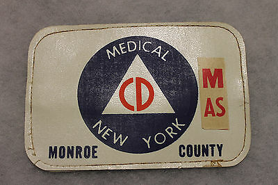 Original 1950-60's New York State Monroe County Civil Defense Medical Armband