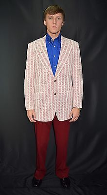 Vintage 70's Men's Mod Red White Polyester Disco Suit by Groshire Size 40 35x31