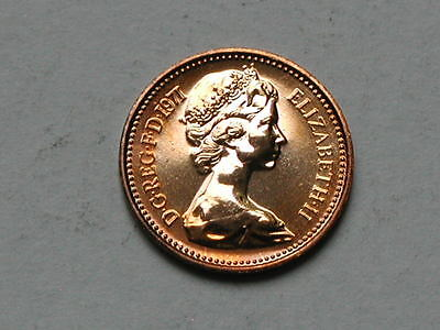 UK (Great Britain) 1971 HALF PENNY PROOF (1/2p) Queen Elizabeth II Coin UNC