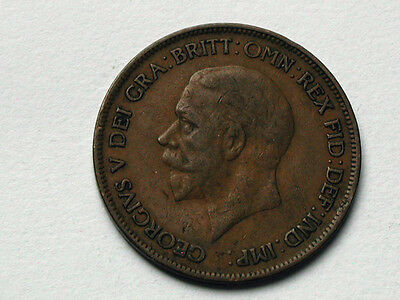 UK (Great Britain) 1928 ONE PENNY (1d.) King George V British Coin