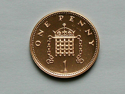 UK (Great Britain) 1988 1 PENNY (1p) Elizabeth II Coin From Proof Set - BU UNC