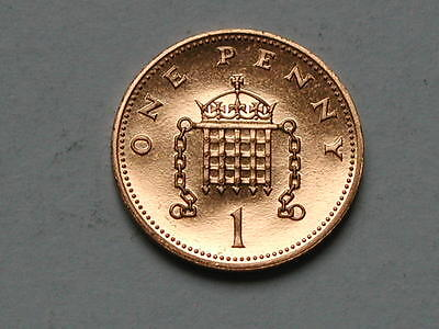 UK (Great Britain) 1989 ONE PENNY PROOF (1p) Queen Elizabeth II Coin UNC