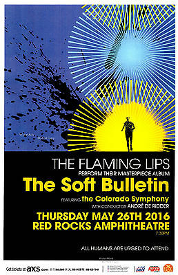 THE FLAMING LIPS 2016 Red Rocks 11x17 Concert Flyer / Gig Poster