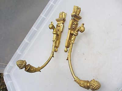 Antique Brass Curtain Tie Backs Hooks French Gilt Leaf Scrolls Old Late 1800's