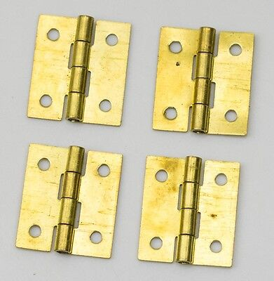 "4x Brass hinges clock case parts repairs 3/4"" 20mm clockmakers hinge spares NEW"
