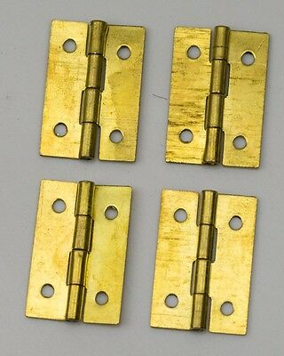 "4x Brass hinges clock case parts repairs 1"" 25mm clockmakers hinge spares NEW"