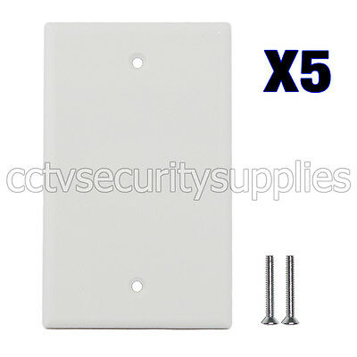 5 x Blank Plastic Face Plate Cover Unbreakable Wall Plate 1 Gang White