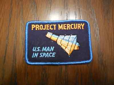 Vintage Project Mercury US Man in Space Embroidered Patch 4 x 2.63in