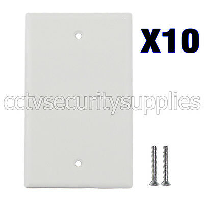 10 x Blank Plastic Face Plate Cover Unbreakable Wall Plate 1 Gang White