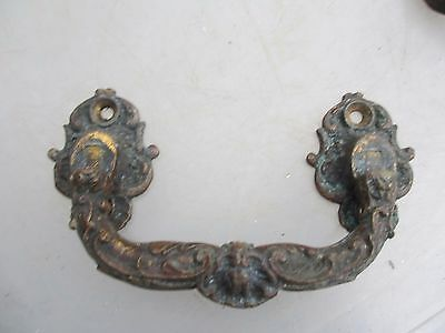 Vintage Cast Brass Chest Handle Pull Rococo Baroque Gilt Architectural Antique