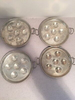 "Vintage Aluminum Set Of 4 6 1/2"" Plates Handled Escargot Plate RARE FIND!"
