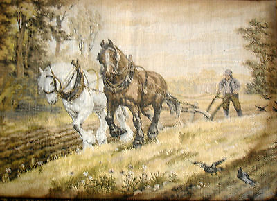 Vintage Completed Tapestry Needlepoint Picture Unframed Ploughing The Land