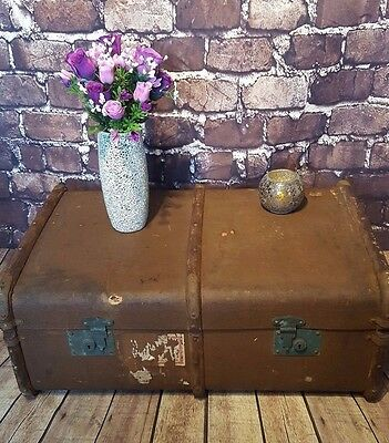 Vintage Wooden Banded Steamer Travel Trunk Blanket Box Storage Coffee Table