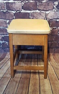 Vintage Retro 1950s 1960s Breakfast Kitchen Stool Seat Box Storage Vinyl Woden