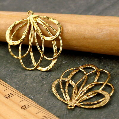 24 Wholesale Solid Brass Vine Leaf Earing Charm Pendant 27x25mm be16
