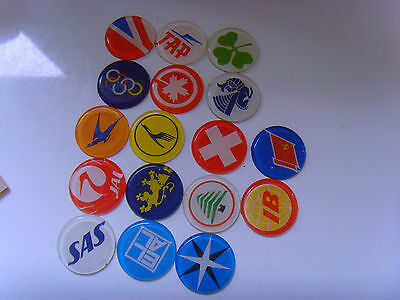 1970s collection of airline tail flag designs pastic tokens