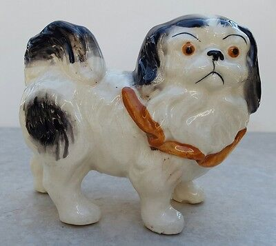 Vintage 1950s Japanese Chin Dog Hand Painted Ceramic Porcelain Figurine Large