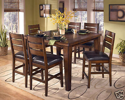 EASTON - 7pcs Cottage Square Counter Height Dining Room Table & Chairs Pub Set
