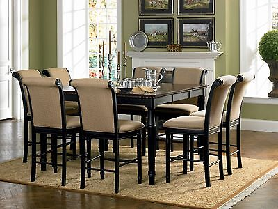 HUNTLEY-7pcs Square Black Counter Height Dining Room Table & Chairs Pub Set New