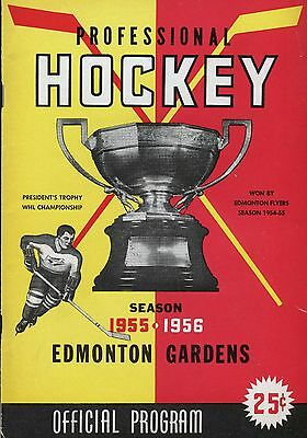 1955-56 EDMONTON GARDENS WESTERN HOCKEY LEAGUE PROGRAM REGINA vs EDMONTON