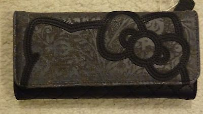NWT Loungefly Hello Kitty Black Denim/Faux Leather Embroidered Big Bow Wallet