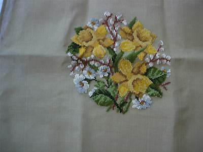 "DAFFODILS PREWORKED CENTRE DESIGN NEEDLEPOINT CANVAS 10 1/2"" x 10 1/2"""
