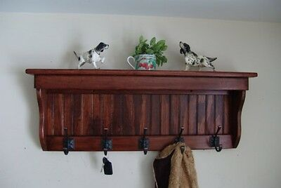 "35"" Handcrafted Wooden wall mount Coat Rack, Display Shelf, Key Hook"