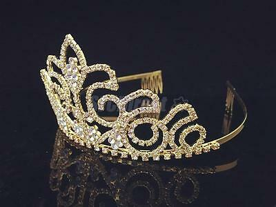 Wedding Bridal Tiara Diamante Crown Headband Pageant Prom Hair Accsorry Gold