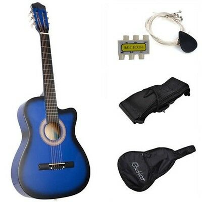 New Blue Beginners Acoustic Guitar With Guitar Case / Strap / Tuner and Pick +++