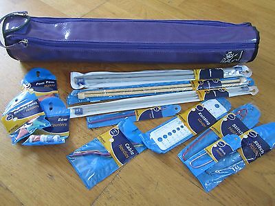 Prym Vinyl Knitting Needle Bag / Case With Needles And Accessories (Purple)