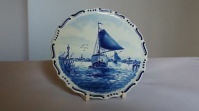 "Royal Delft Handpainted 6"" Plate / Trivet With Sailboats & Village UKU CM 173"