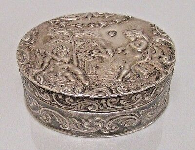 Antique Amsterdam .833 Repousse Silver Peppermint Snuff Pill Trinket Box 1886
