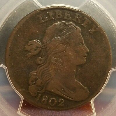 1802 Draped Bust Large Cent - Cud Reverse ** Pcgs Certified Vf Details