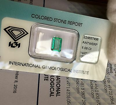 Natural IGI CERTIFIED Emerald 1.08ct BRIGHT Green COLOMBIAN Loose Diamond Gem