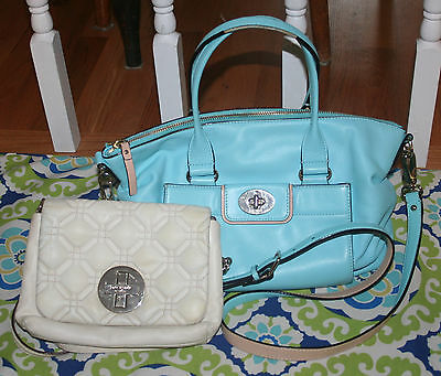 Kate Spade Quilted Bone & Robins Egg Blue Speedy Leather Crossbody Bags