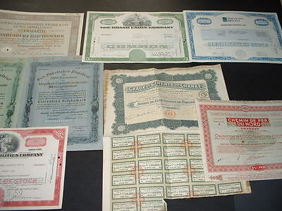 SCRIPOPHILY 8 DIFFERENT  VINTAGE CERTIFICATES  SHAREs (M9)