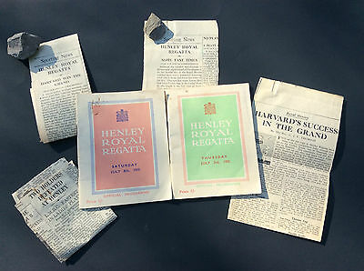 Henley Royal Regatta, 2 Official Programmes 1950 & 1952 with 4 News Clippings