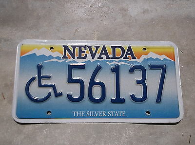 Nevada The Silver State Wheel Chair  License Plate  # 56137