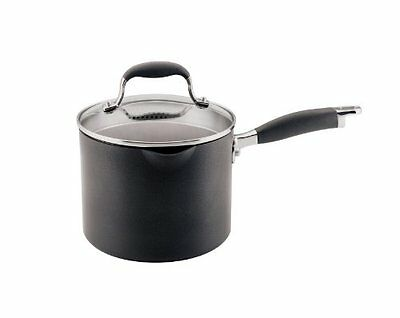 Advanced Hard Anodized Nonstick 3-1/2qt Covered Straining Saucepan with Spouts