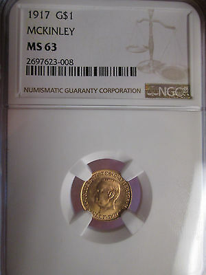 1917 $1 Gold Mckinley Commemorative Dollar ** Ngc Certified Ms 63