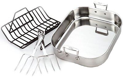 All-Clad 501631 SS Large Roti Combo with Rack and Turkey Lifters Cookware Silver