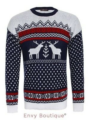 Mens Xmas Jumper Novelty Knitted Christmas Reindeer Fairisle Knit Sweater