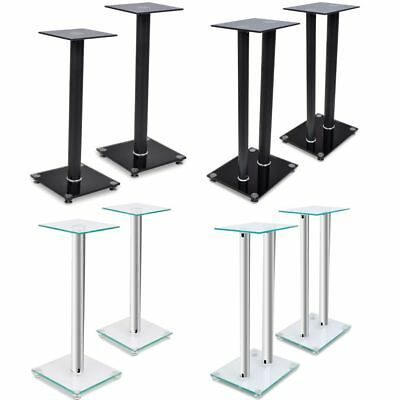 Black/Silver 2pcs Glass Speaker Stands with 1/2 Pillar Home Theatre Monitor